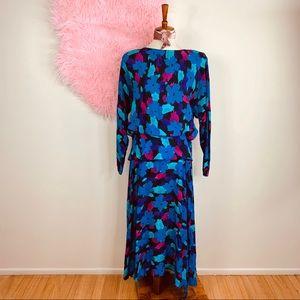 Vtg 80s Floral Oversized Midi Dress M